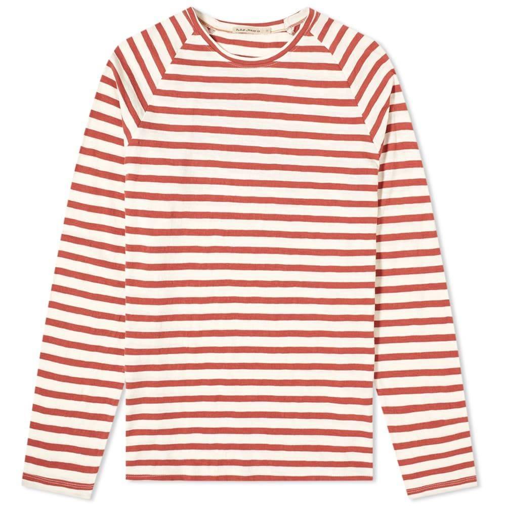 ヌーディージーンズ Nudie Jeans Co メンズ 長袖Tシャツ トップス【Nudie Otto Breton Stripe Long Sleeve Tee】Egg White/Dusty Red