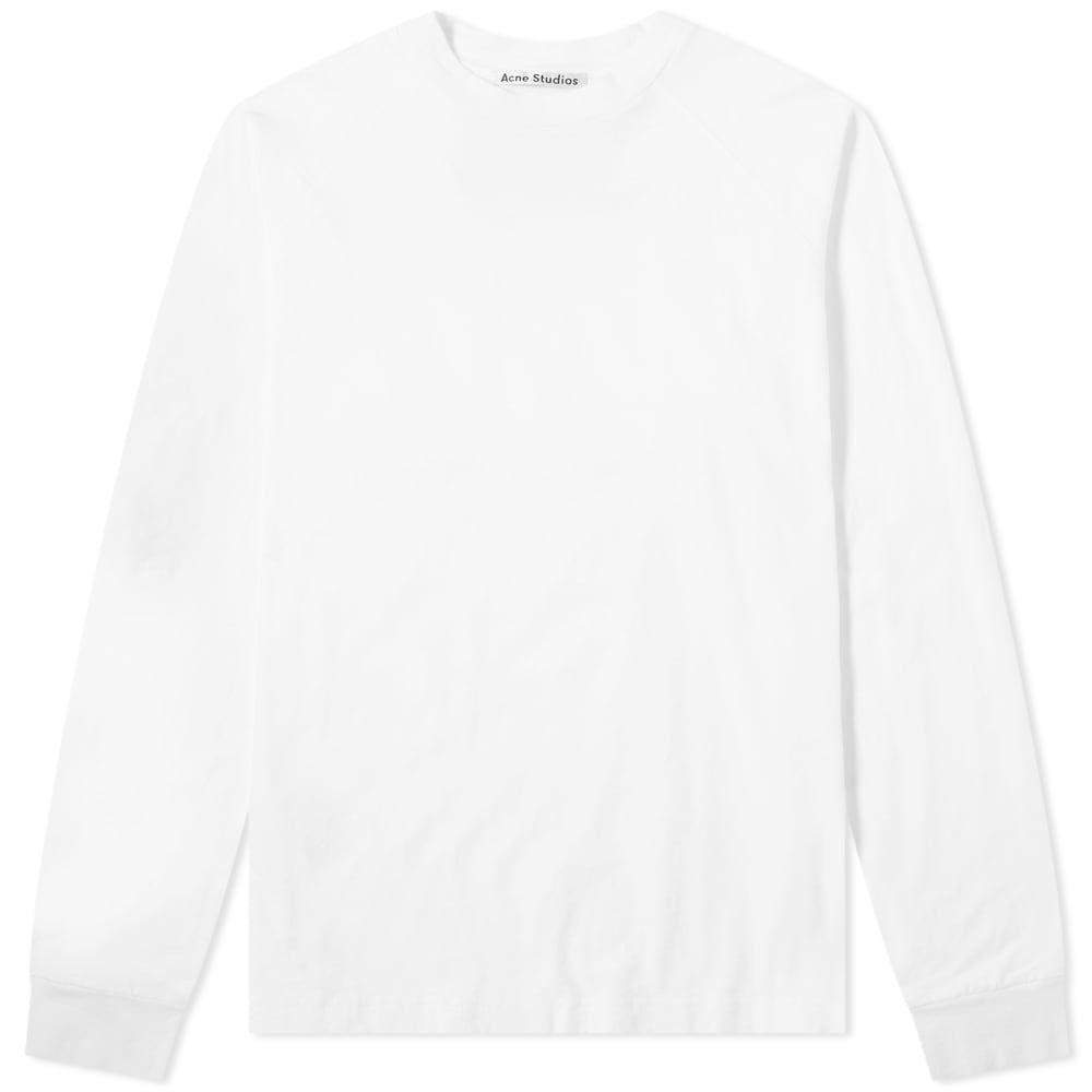 アクネ ストゥディオズ Acne Studios メンズ 長袖Tシャツ トップス【Long Sleeve Reverse Label Tee】Optic White