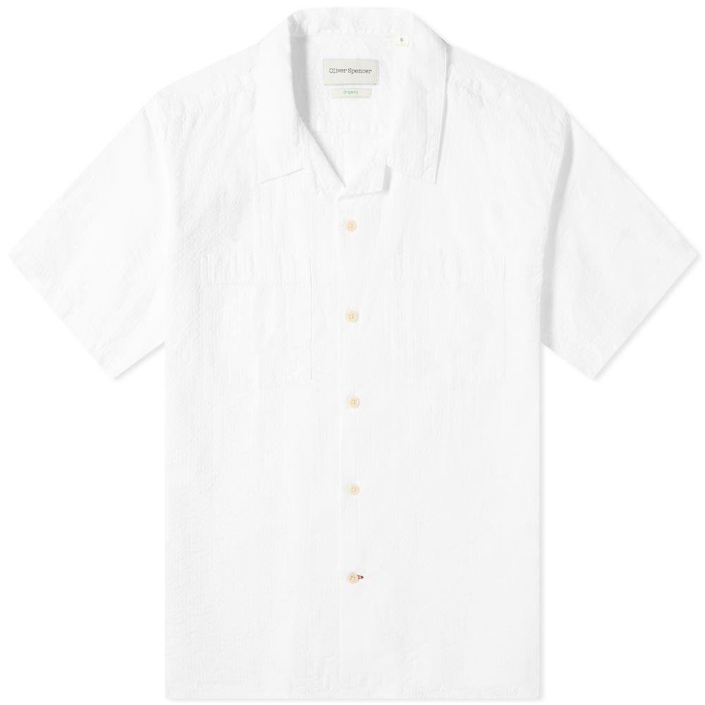オリバー スペンサー Oliver Spencer メンズ 半袖シャツ トップス【Havana Shirt】White