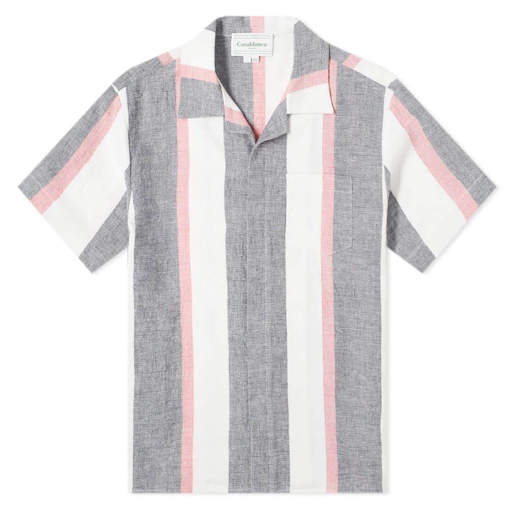 カサブランカ Casablanca メンズ 半袖シャツ トップス【Striped Linen Shirt】Navy Stripe