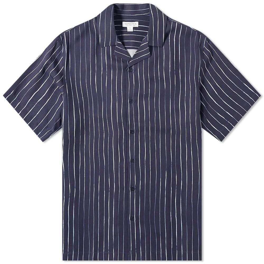 サンスペル Sunspel メンズ 半袖シャツ トップス【Striped Vacation Shirt】Inky Stripe Navy