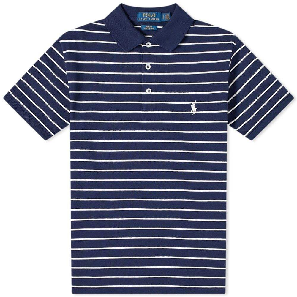 ラルフ ローレン Polo Ralph Lauren メンズ ポロシャツ トップス【Slim Fit Stripe Polo】French Navy/White