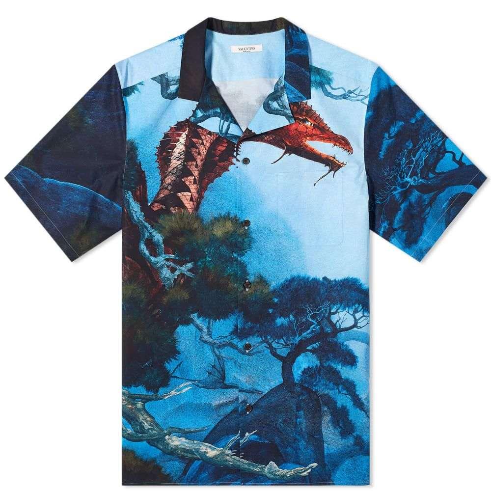 ヴァレンティノ Valentino メンズ 半袖シャツ トップス【x Roger Dean Dragon Garden Vacation Shirt】Blue/Multi