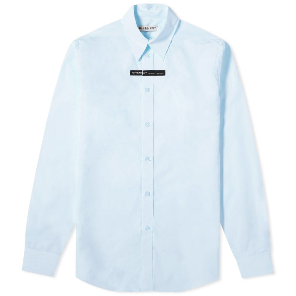 ジバンシー Givenchy メンズ シャツ トップス【Tape Logo Poplin Shirt】Light Blue