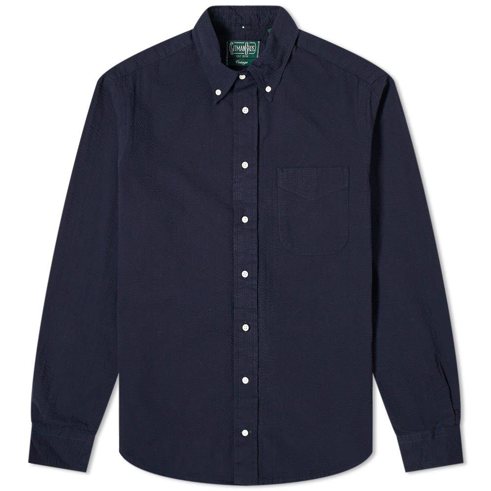 ギットマンヴィンテージ Gitman Vintage メンズ シャツ トップス【Button Down Overdye Seersucker Shirt】Navy