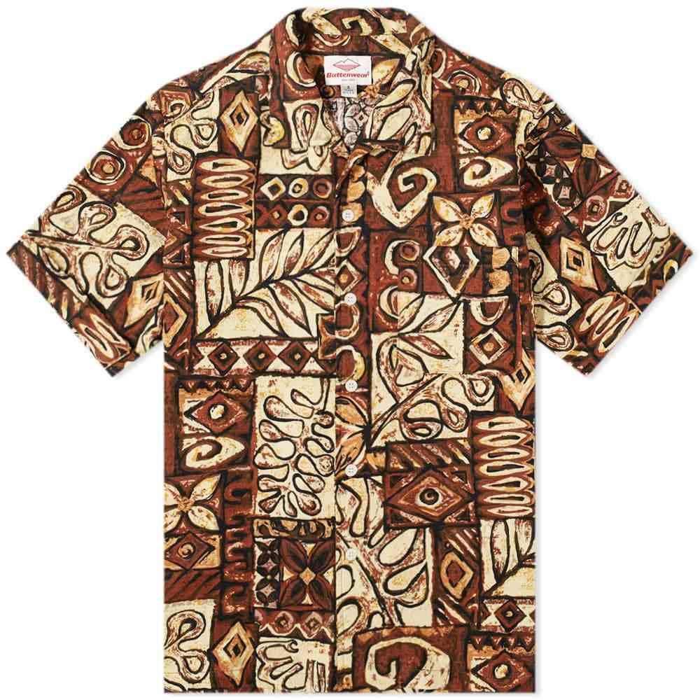 バテンウェア Battenwear メンズ 半袖シャツ トップス【Zuma Shirt】Brown Print