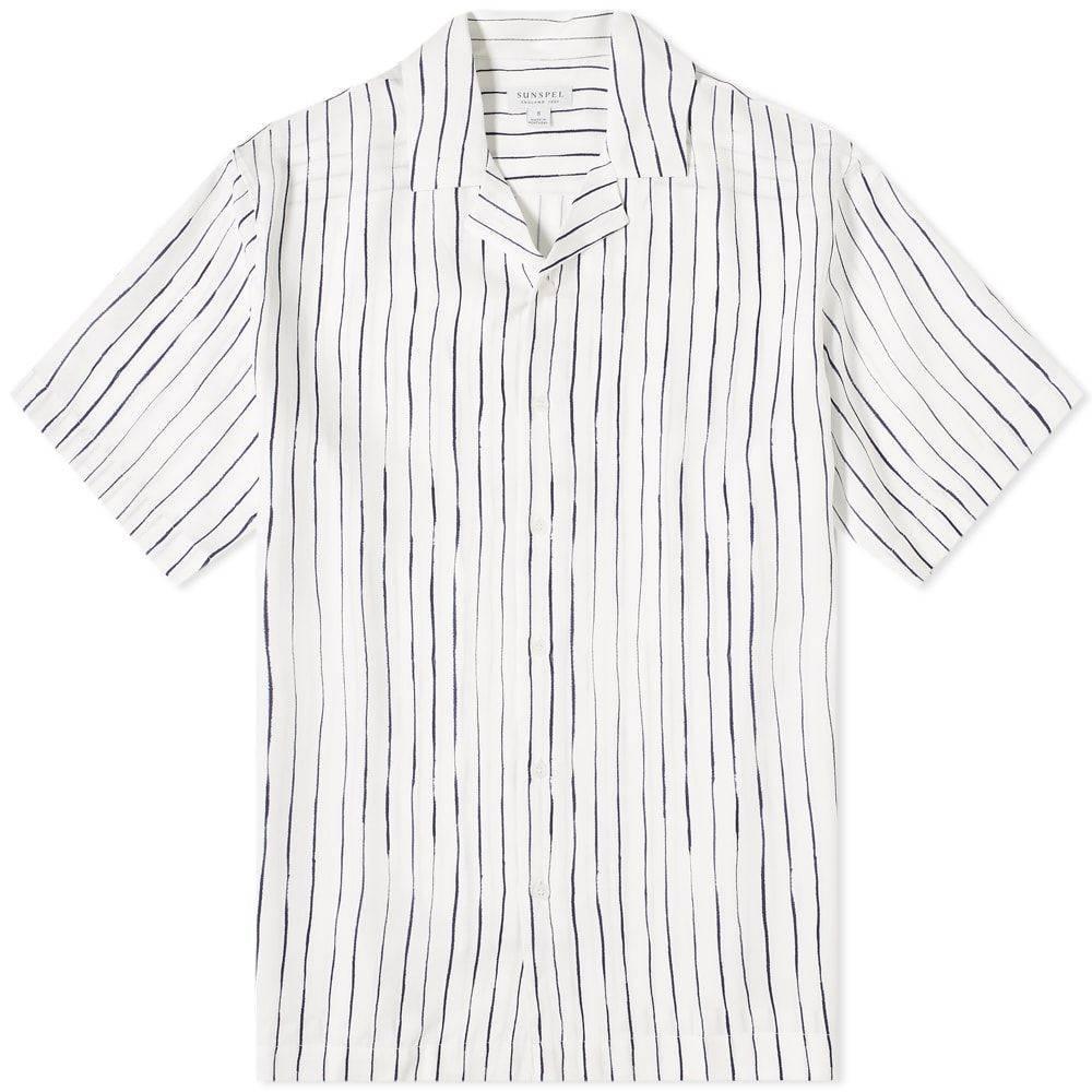 サンスペル Sunspel メンズ 半袖シャツ トップス【Striped Vacation Shirt】Inky Stripe White