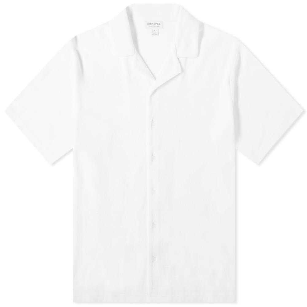 サンスペル Sunspel メンズ 半袖シャツ トップス【Towelling Vacation Shirt】White