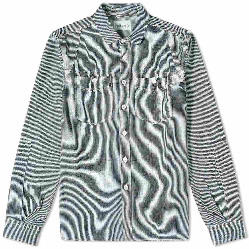 アルバム Albam メンズ シャツ トップス【Carpenters Work Shirt】Indigo Stripe