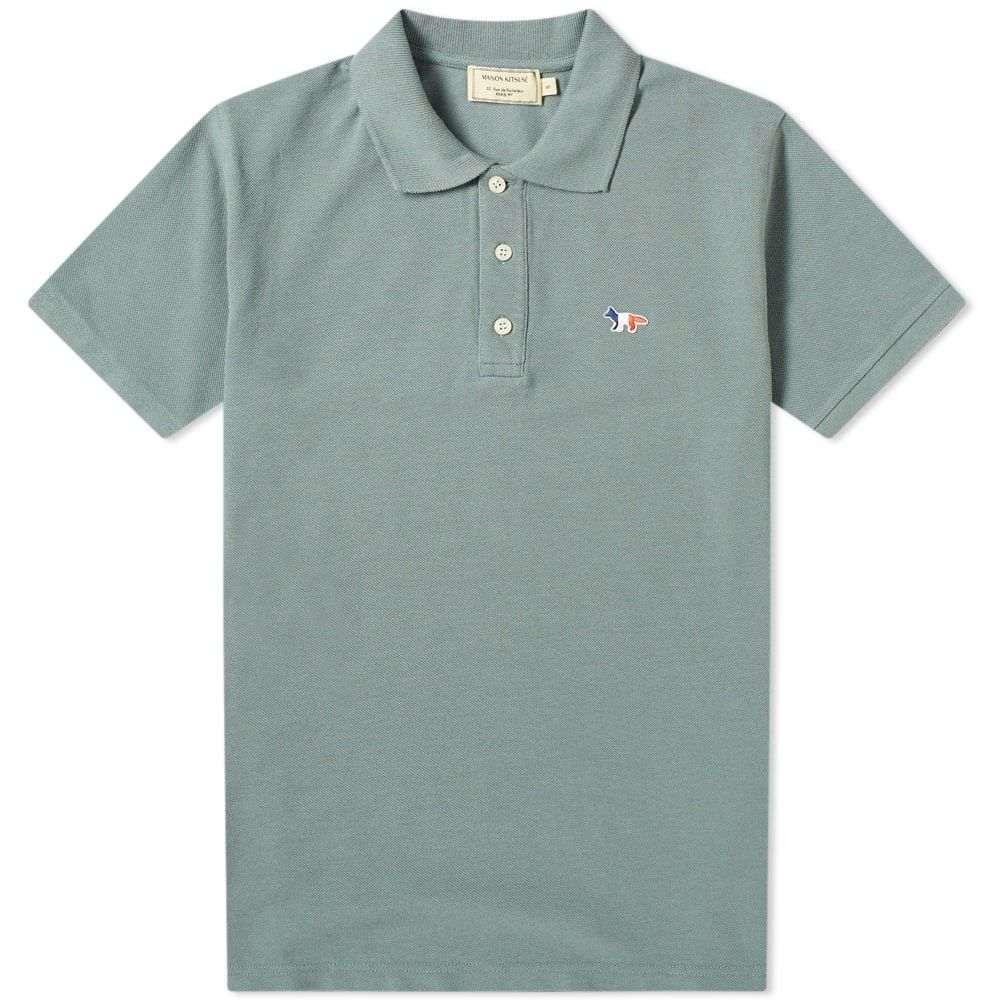 メゾン キツネ Maison Kitsune メンズ ポロシャツ トップス【Tricolor Fox Patch Polo】Blue Green