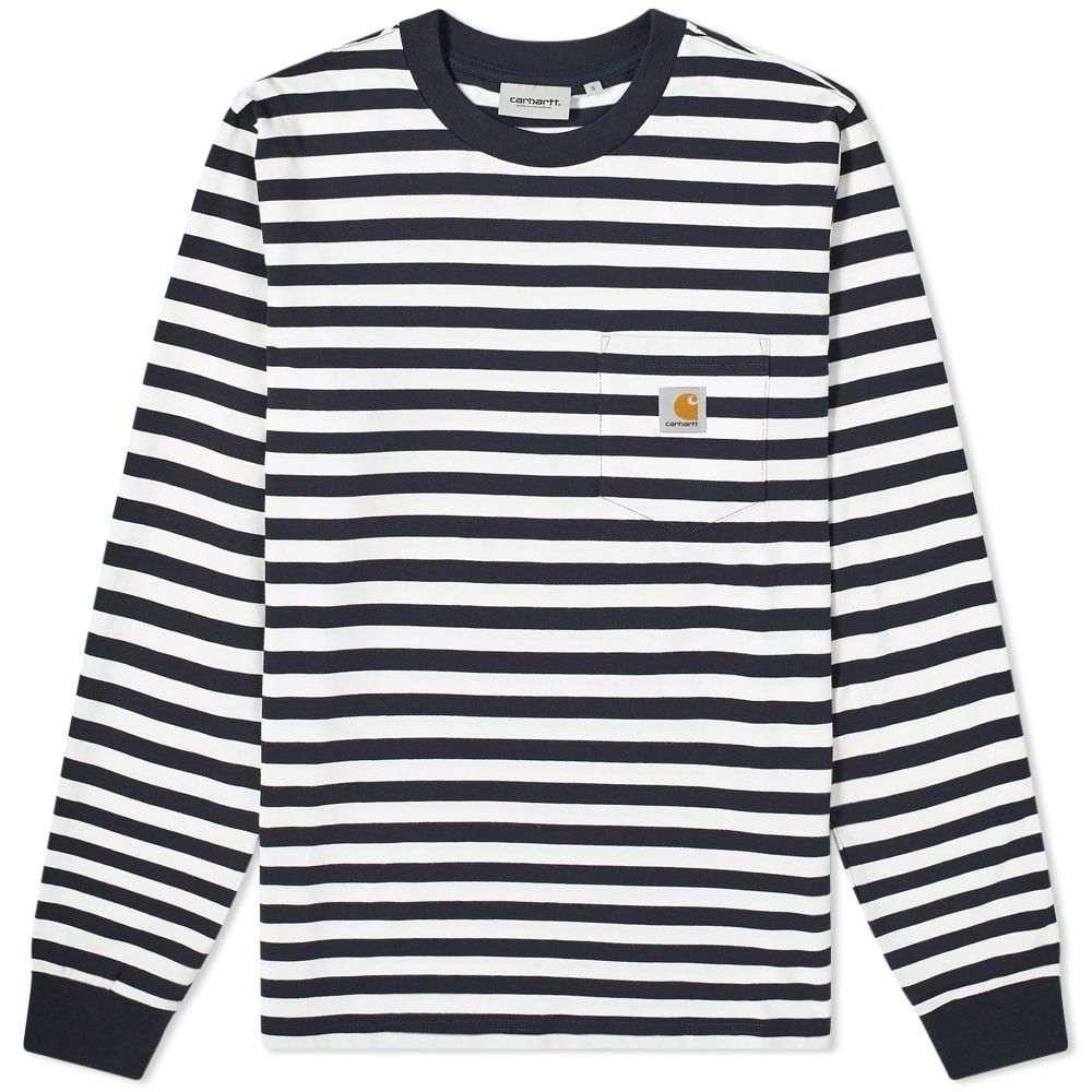 カーハート Carhartt WIP メンズ 長袖Tシャツ ポケット トップス【Long Sleeve Scotty Pocket Tee】Dark Navy/White