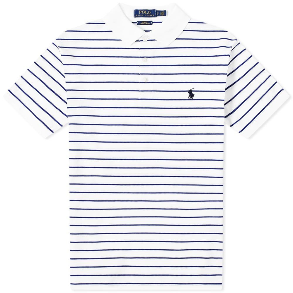 ラルフ ローレン Polo Ralph Lauren メンズ ポロシャツ トップス【Slim Fit Stripe Polo】White/Heritage Royal