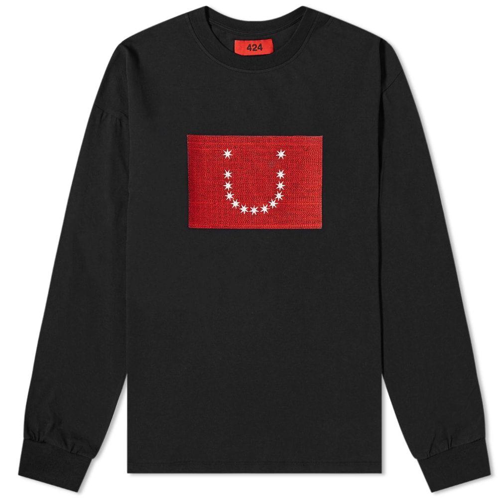 フォートゥーフォー 424 メンズ 長袖Tシャツ トップス【Long Sleeve Embroidered Stars Tee】Black