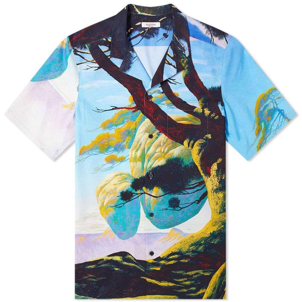ヴァレンティノ Valentino メンズ 半袖シャツ トップス【x Roger Dean Floating Island Vacation Shirt】Blue/Yellow/Multi