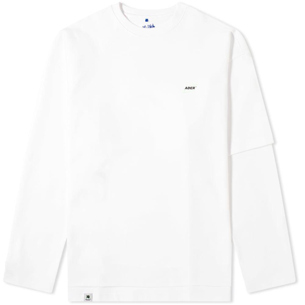 アーダーエラー ADER Error メンズ 長袖Tシャツ ロゴTシャツ トップス【ADER error Oversized Double Sleeve Logo Tee】Off White
