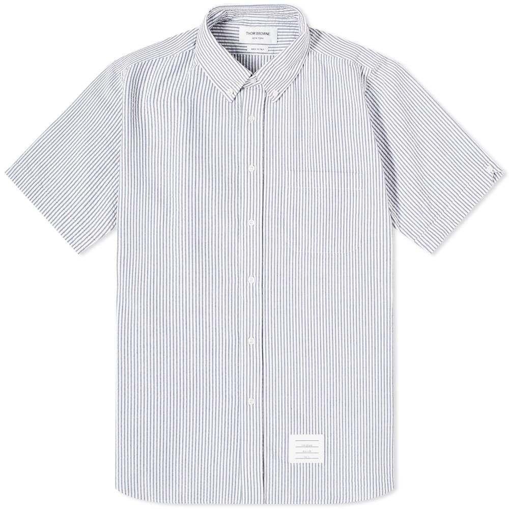 トム ブラウン Thom Browne メンズ 半袖シャツ トップス【Button Down Seersucker Short Sleeve Shirt】Blue