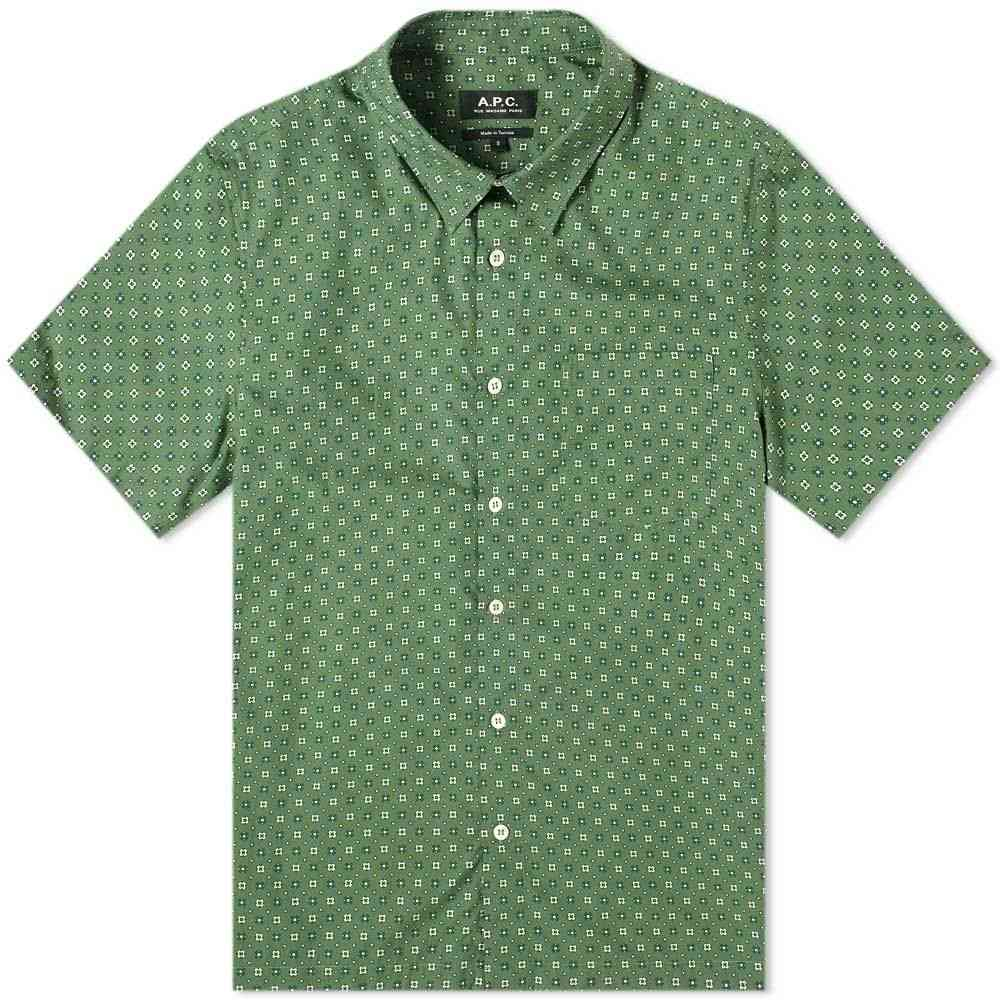 アーペーセー A.P.C. メンズ 半袖シャツ トップス【Cippi Floral Shirt】Green