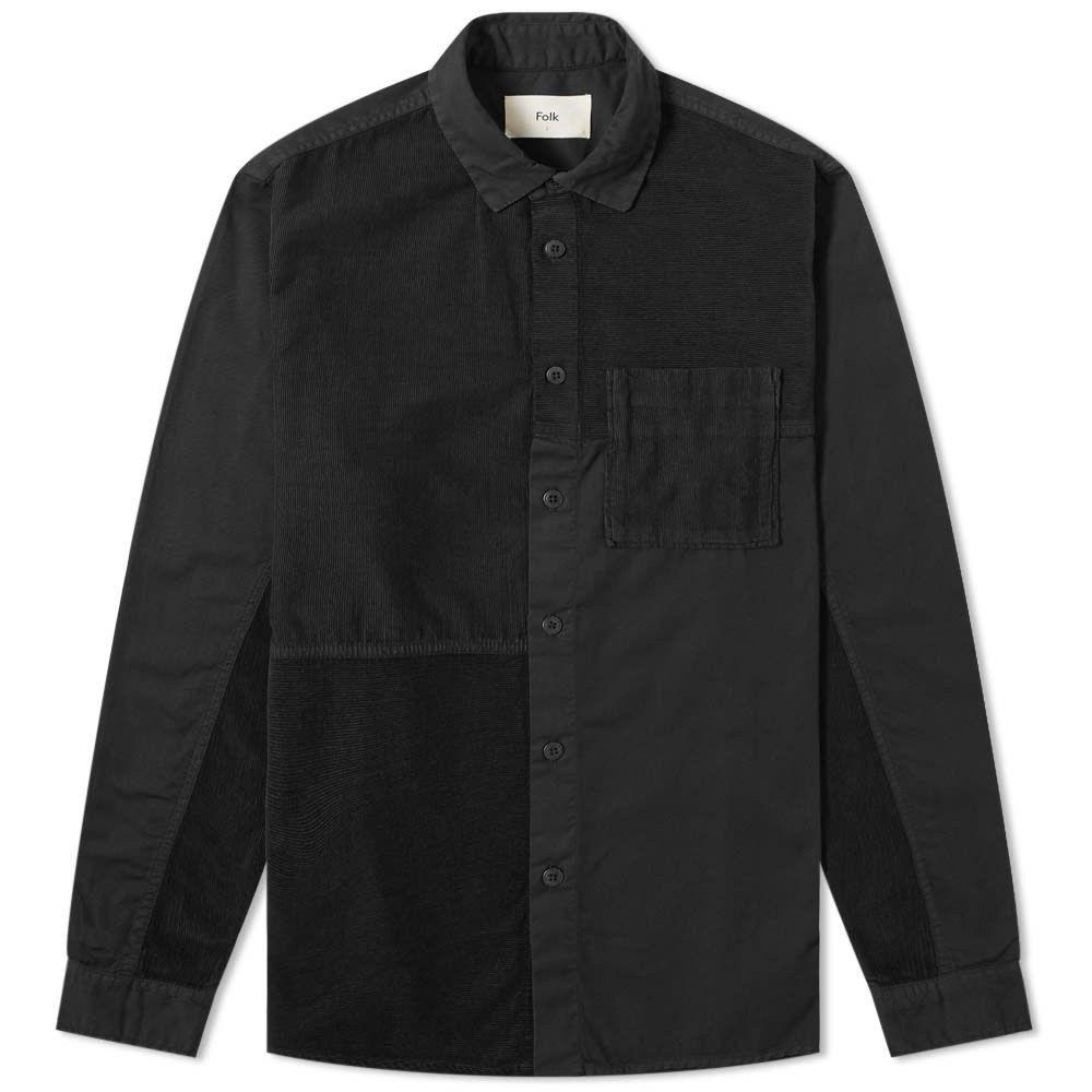 フォーク Folk メンズ シャツ トップス【Fraction Patchwork Shirt】Charcoal