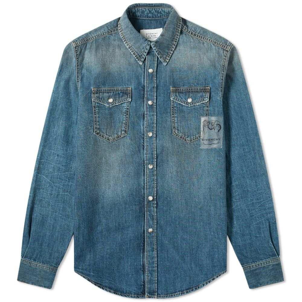 ジバンシー Givenchy メンズ シャツ デニム トップス【Patch Logo Denim Shirt】Dark Wash