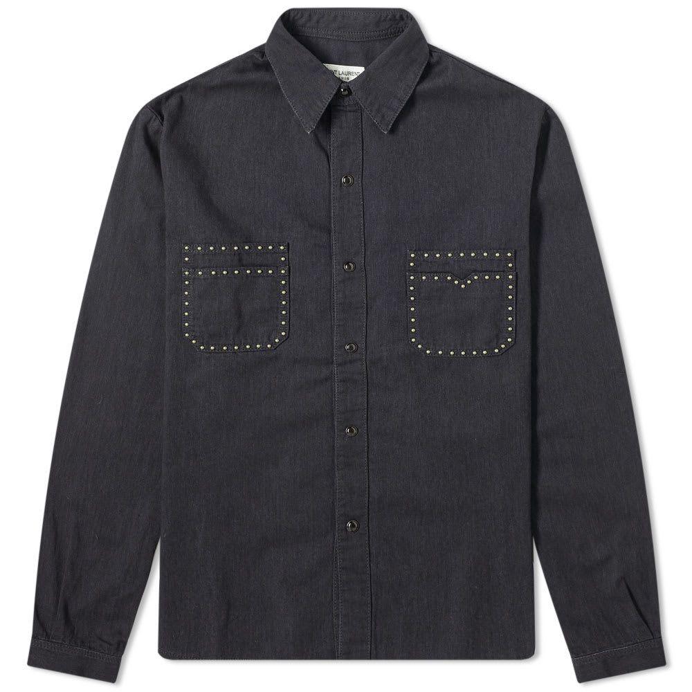 イヴ サンローラン Saint Laurent メンズ シャツ トップス【studded pocket detail shirt】Black Stonewash