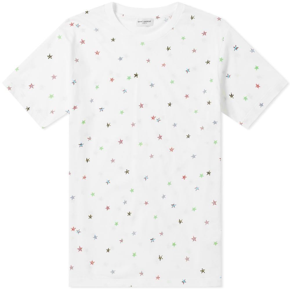 イヴ サンローラン Saint Laurent メンズ Tシャツ トップス【stars tee】Natural/Multi