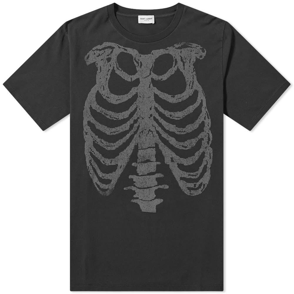 イヴ サンローラン Saint Laurent メンズ Tシャツ トップス【rib cage tee】Black Washed