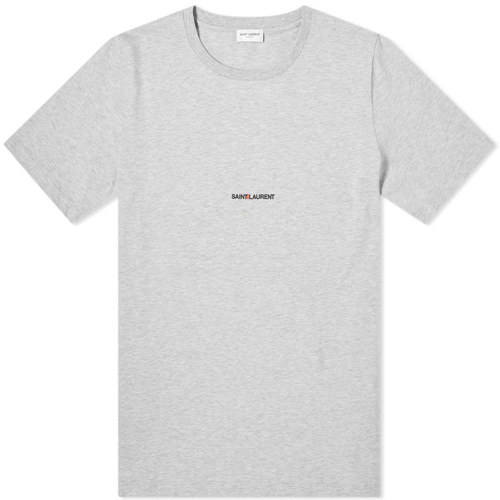 イヴ サンローラン Saint Laurent メンズ Tシャツ ロゴTシャツ トップス【archive logo tee】Grey Marl