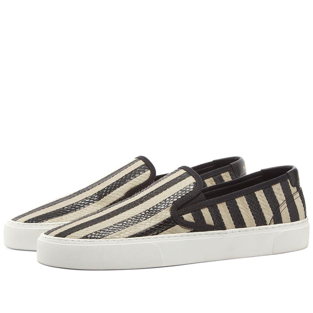 イヴ サンローラン Saint Laurent メンズ シューズ・靴 スリッポン・フラット【Venice Slip On Scale Stripe Sneaker】Off White/Black