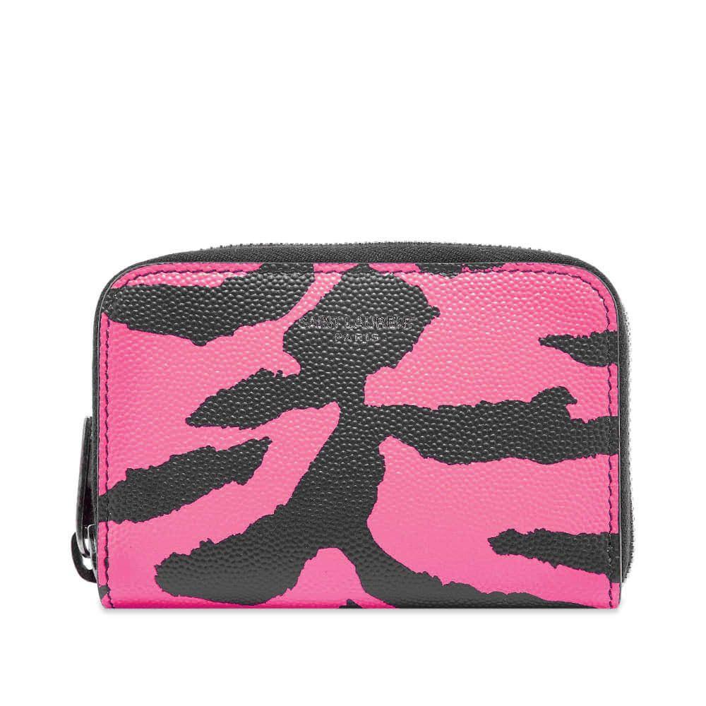 イヴ サンローラン Saint Laurent メンズ 財布 【zebra zip coin wallet】Pink/Black