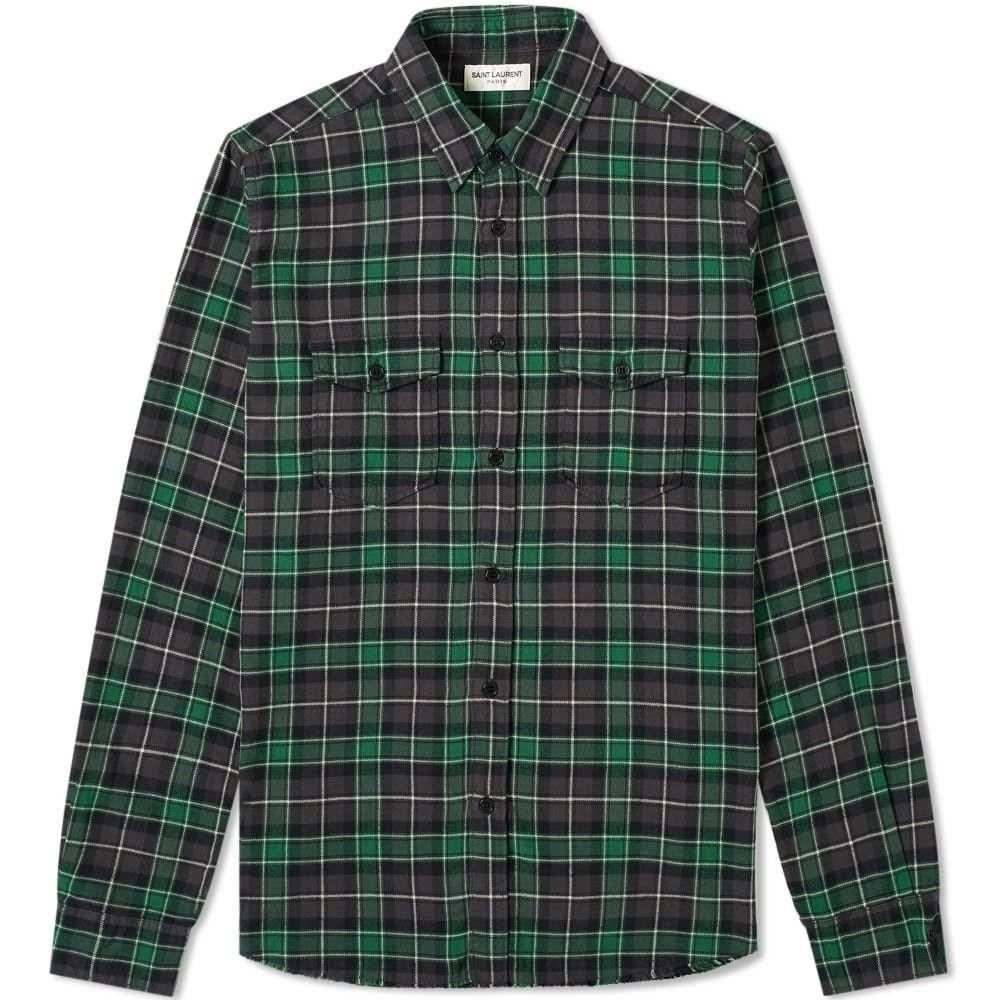 イヴ サンローラン Saint Laurent メンズ シャツ トップス【oversize check shirt】Green Stonewash