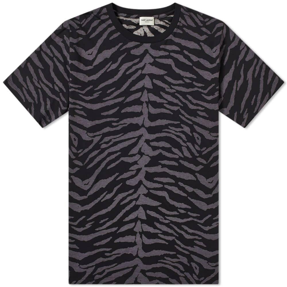 イヴ サンローラン Saint Laurent メンズ Tシャツ トップス【zebra print tee】Black/Grey