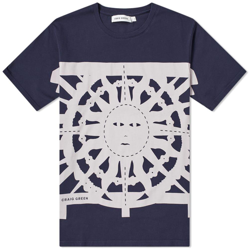 クレイググリーン Craig Green メンズ Tシャツ トップス【Flag Tee】Navy Sun