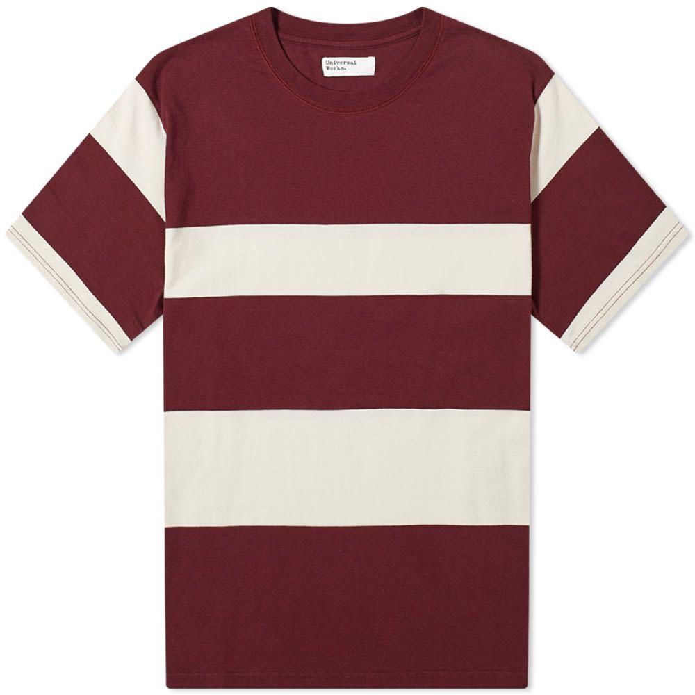 ユニバーサルワークス メンズ トップス 売れ筋ランキング Tシャツ Raisin 売り出し Ecru Wide Tee サイズ交換無料 Works Stripe Universal