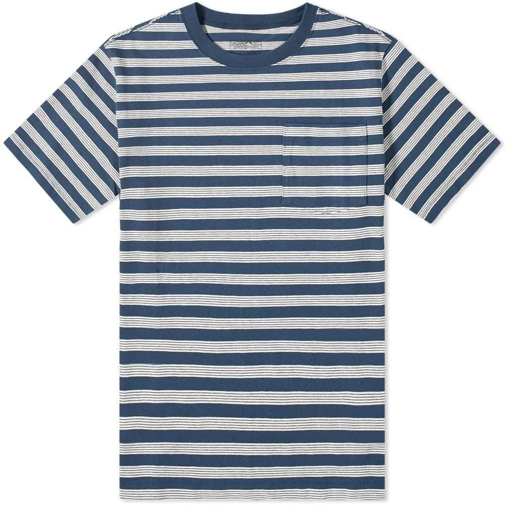パタゴニア Patagonia メンズ Tシャツ ポケット トップス【Organic Cotton Midweight Pocket Tee】Stone Blue Stripe