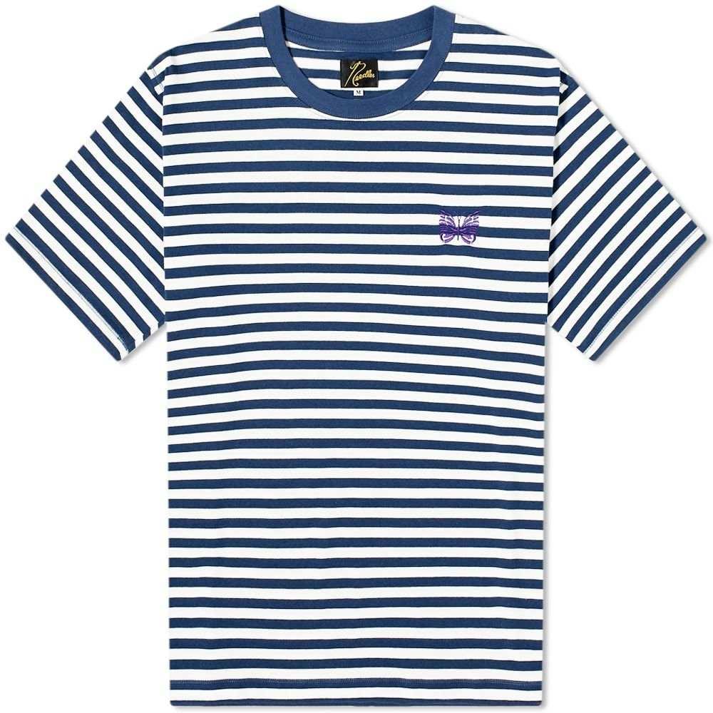 ニードルズ Needles メンズ Tシャツ トップス【Papillon Stripe Crew Tee】White/Navy
