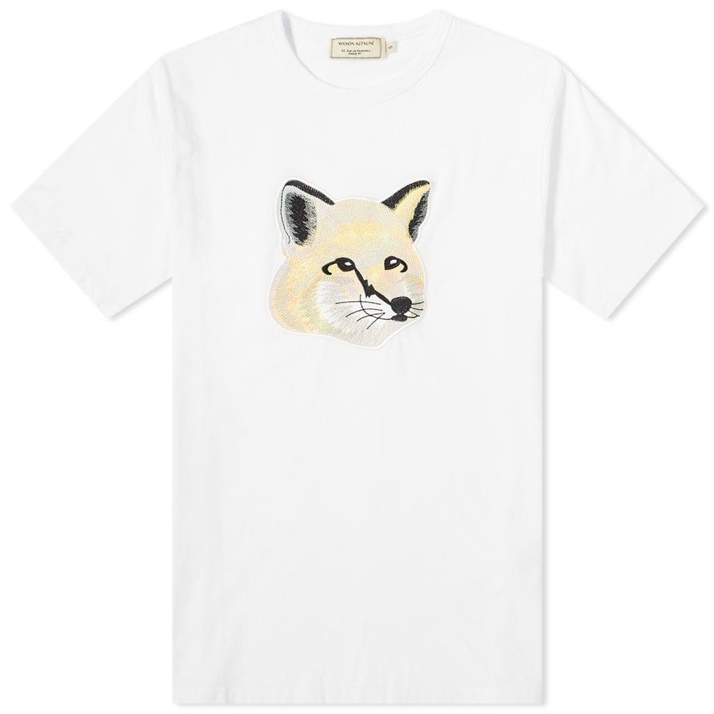 メゾン キツネ Maison Kitsune メンズ Tシャツ トップス【Pastel Fox Head Embroidered Tee】Off White