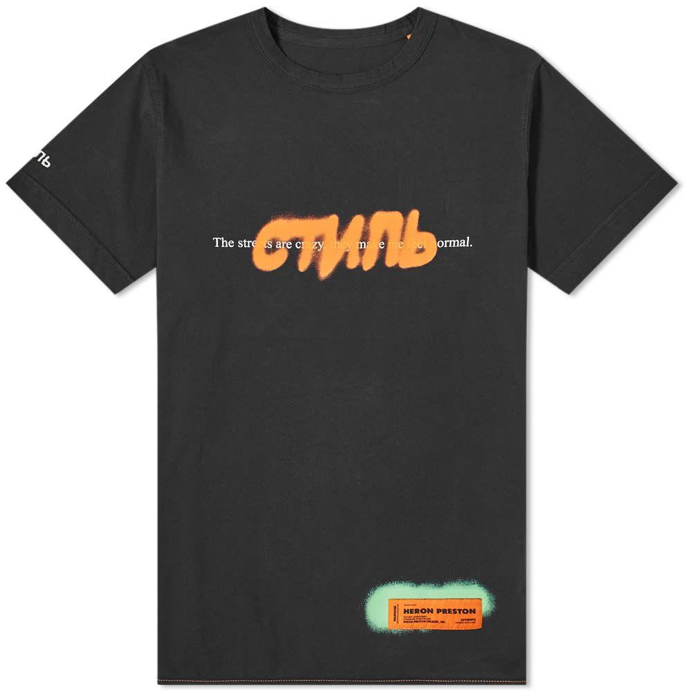 ヘロン プレストン Heron Preston メンズ Tシャツ トップス【CTNMB Spray Print Tee】Black