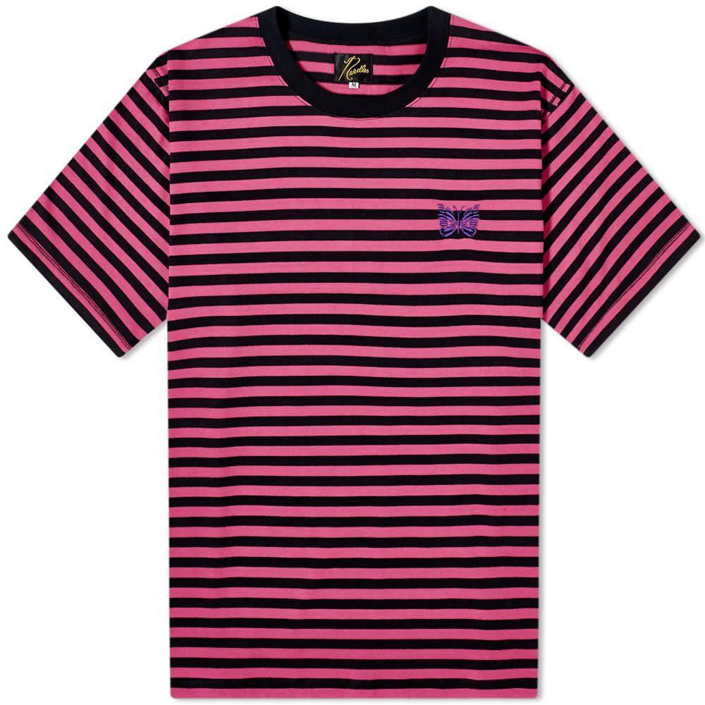 ニードルズ Needles メンズ Tシャツ トップス【Papillon Stripe Crew Tee】Pink/Black