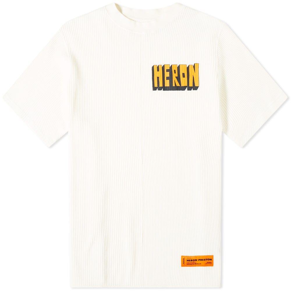 ヘロン プレストン Heron Preston メンズ Tシャツ ロゴTシャツ トップス【Heron Print Logo Waffle Tee】White