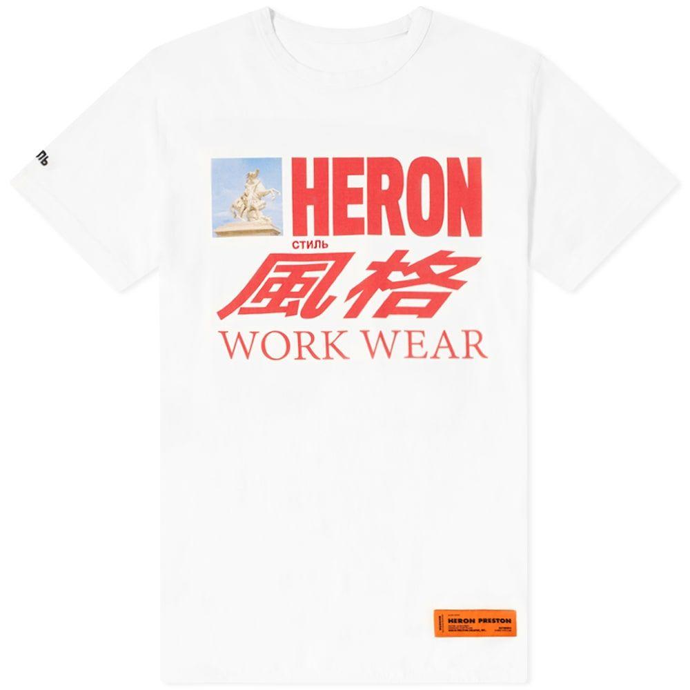 ヘロン プレストン Heron Preston メンズ Tシャツ トップス【Heron Workwear Print Tee】White