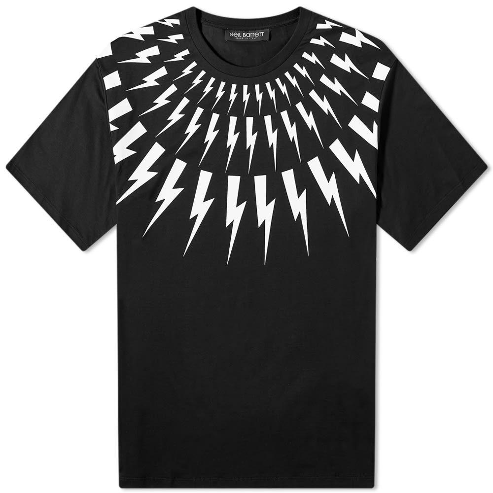 ニール バレット Neil Barrett メンズ Tシャツ トップス【Fair Isle Lightning Bolt Tee】White/Black