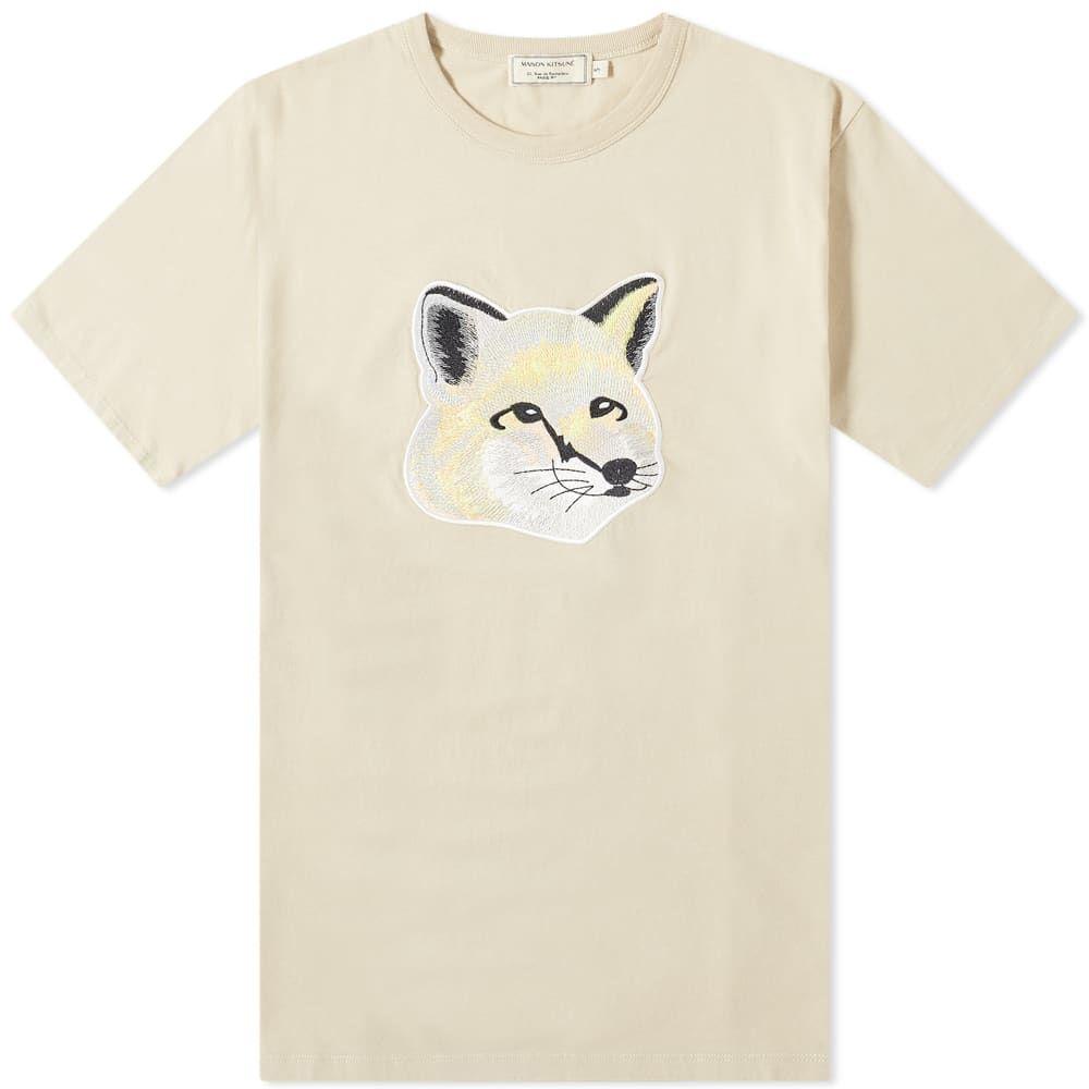 メゾン キツネ Maison Kitsune メンズ Tシャツ トップス【Pastel Fox Head Embroidered Tee】Beige
