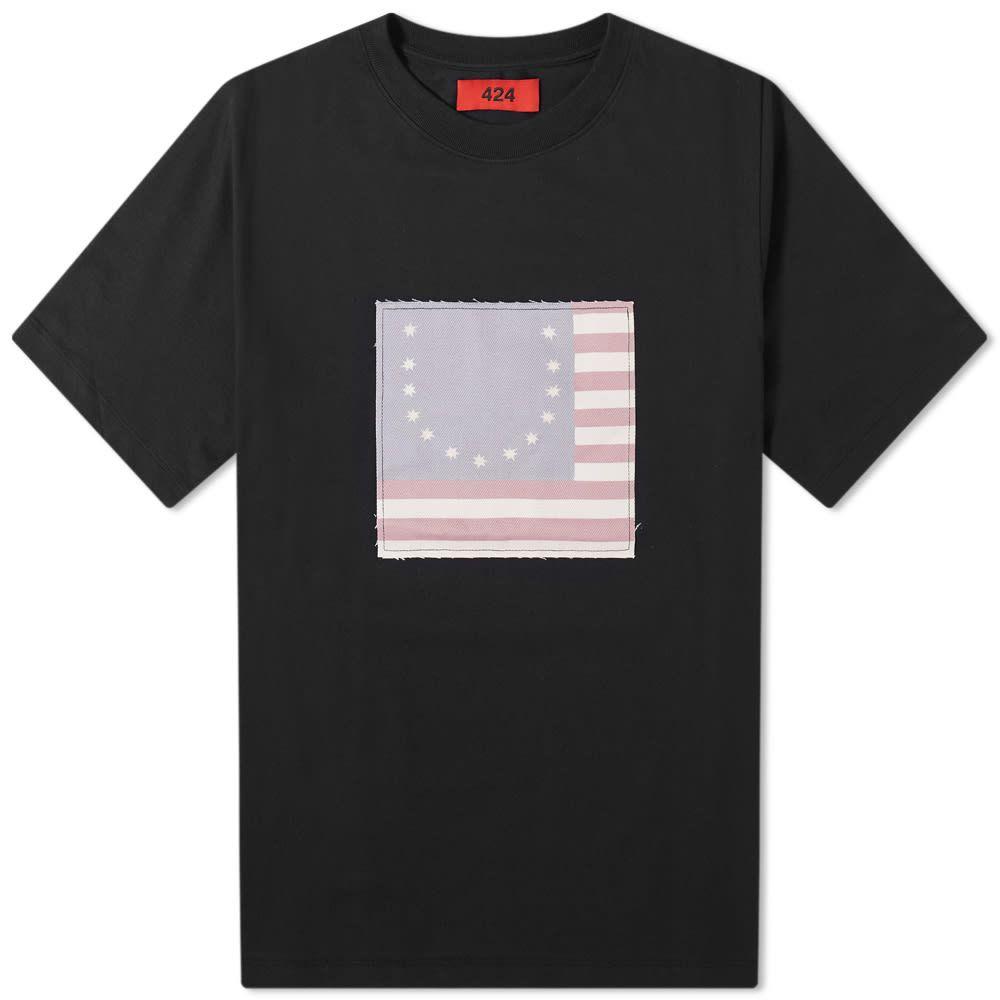 フォートゥーフォー 424 メンズ Tシャツ トップス【Smiley Flag Tee】Black