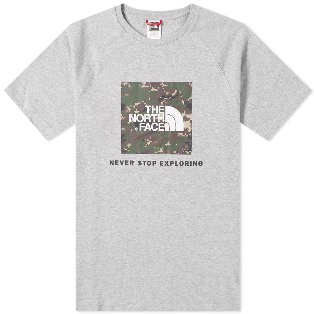 ザ ノースフェイス The North Face メンズ Tシャツ ラグラン トップス【Raglan Redbox Tee】Grey Heather/Green
