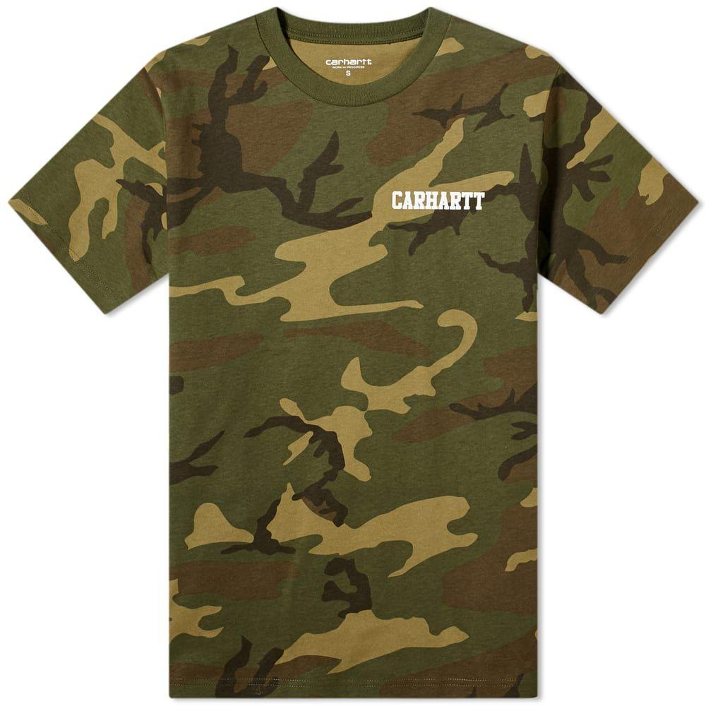 カーハート Carhartt WIP メンズ Tシャツ トップス【College Script Tee】Camo Laurel/White