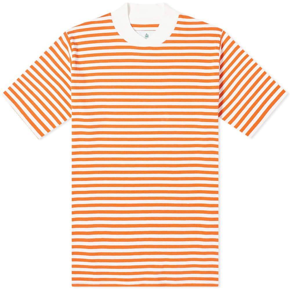 バブアー メンズ トップス !超美品再入荷品質至上! Tシャツ Burnt Orange サイズ交換無料 Tee White Barbour Label Stripe 専門店 Inver -