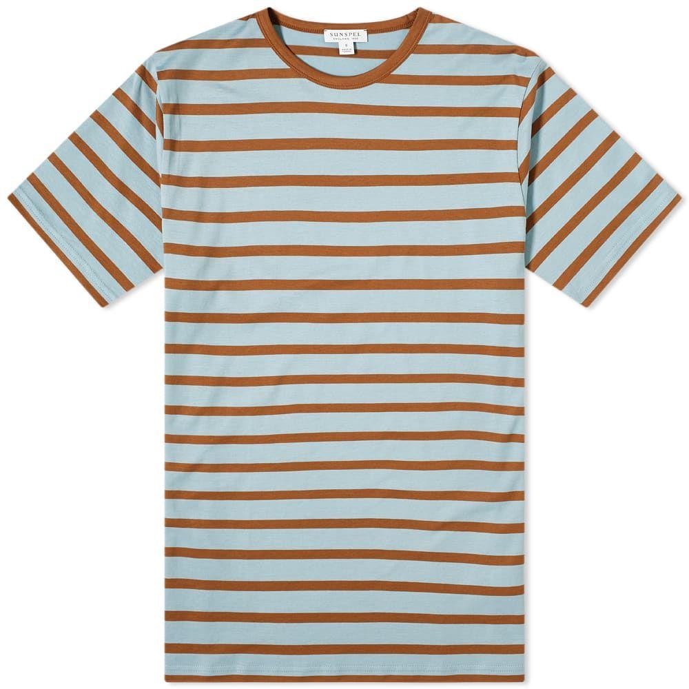 サンスペル Sunspel メンズ Tシャツ トップス【Breton Stripe Tee】Blue Jeans/Tobacco