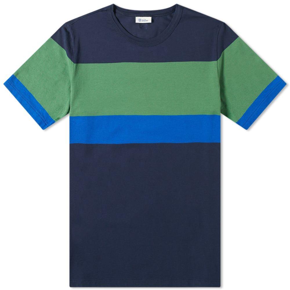 シーサー Schiesser メンズ Tシャツ トップス【Striped Georg Tee】Navy/Green/Blue