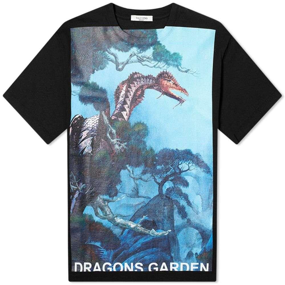 ヴァレンティノ Valentino メンズ Tシャツ トップス【x Roger Dean Dragon Garden Tee】Black/White