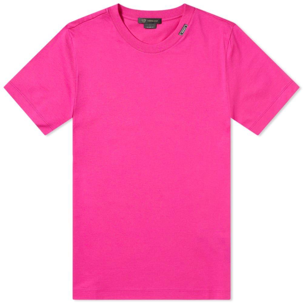 ヴェルサーチ Versace メンズ Tシャツ ロゴTシャツ トップス【Tab Logo Tee】Pink